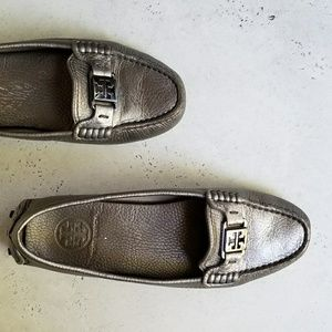 Silver Tory Burch Driving Loafers - sz 8